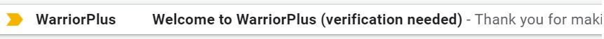 WarriorPlus Verification Email
